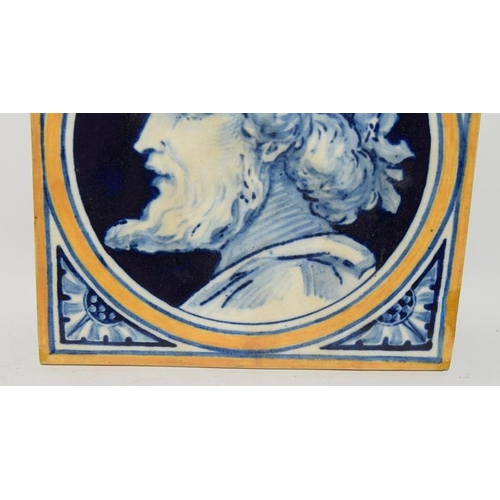 84 - W. B. Simpson & Sons pair of Allegorical Style tiles depicting a Man & Woman c1870s, 6