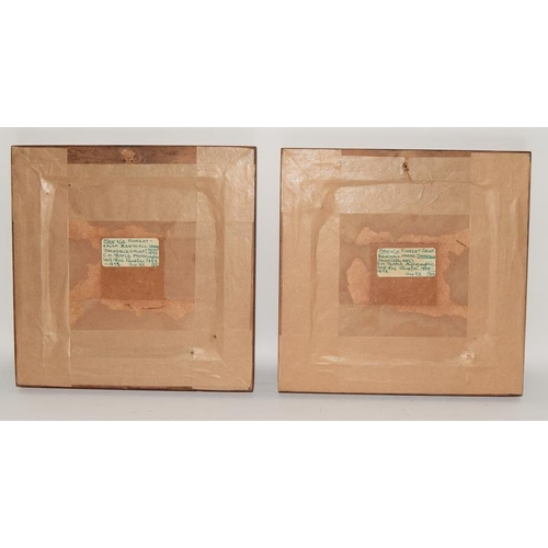 85 - Maw & Co. Floreat Salopia Benthall Works Jackfield pair of framed tiles, C H Temple photographic hal...