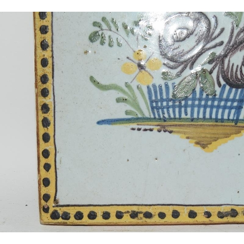 86 - French (Northern France) early polychrome tile depicting a basket of flowers c1800s, 4.6