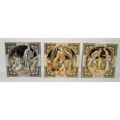 125 - Minton China Works John Moyr Smith,12 tiles from the season's series, Spring, Summer, Autumn, Winter...