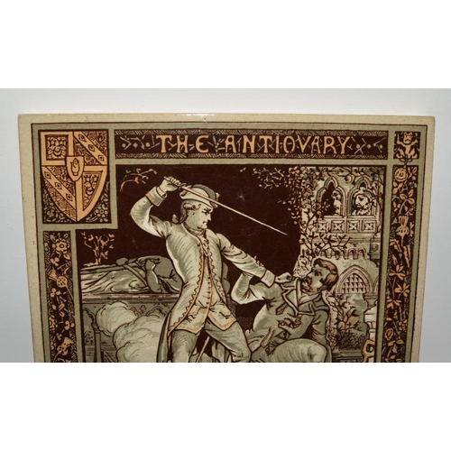 126 - Mintons Chine Works large tile by John Moyr Smith depicting Walter Scott c1878, 8