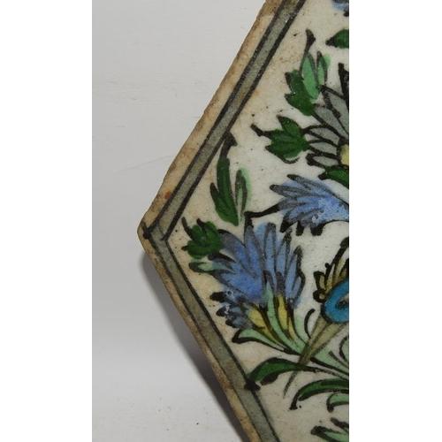 284 - Persian or Turkish 19th century hexagonal shape handmade tile with a bird & flowers design 8.5