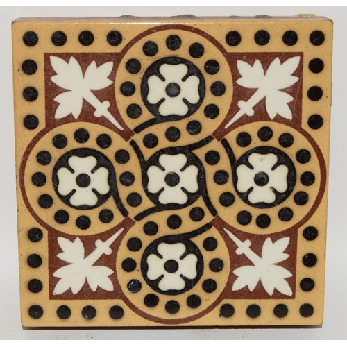 315 - Selection of encaustic and transfer printed pseudo encaustic floor tiles by Minton, Maw and Co, and ...