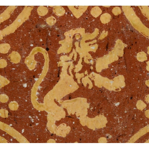 316 - Flanders / Northern France early architectural tile with inlaid glazed decoration c17-18th century 5...