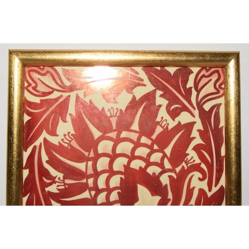 345 - Lewis Day ruby lustre ware tile depicting a stylized flower / artichoke in gold frame 6.6