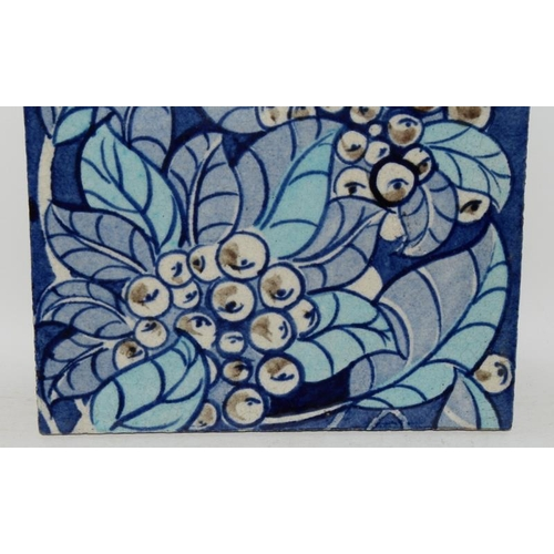 347 - William De Morgan pair of matching tiles depicting foliage & berries in shades of blue, marked DM 98...
