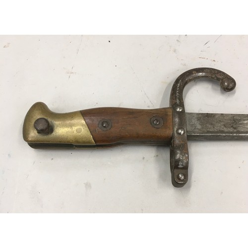 10 - French St Etienne 1877 bayonet in scabbard 66cm total...
