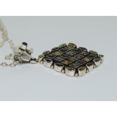 34 - Large natural multi gem set 925 silver pendant