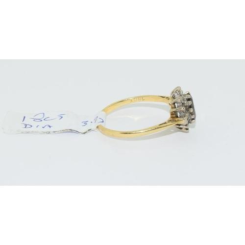 36 - 18ct gold ladies diamond set cluster ring size P