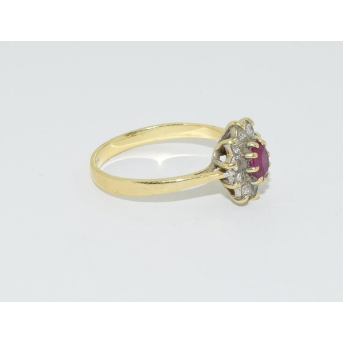41 - 18ct gold ladies diamond and ruby cluster ring size M