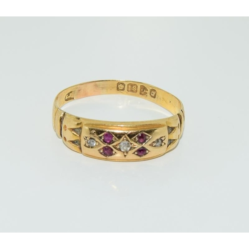 19 - 18 ct gold antique ruby and diamond ring size S