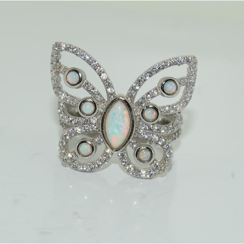 2 - Unusual silver butterfly ring with central opal panel size P