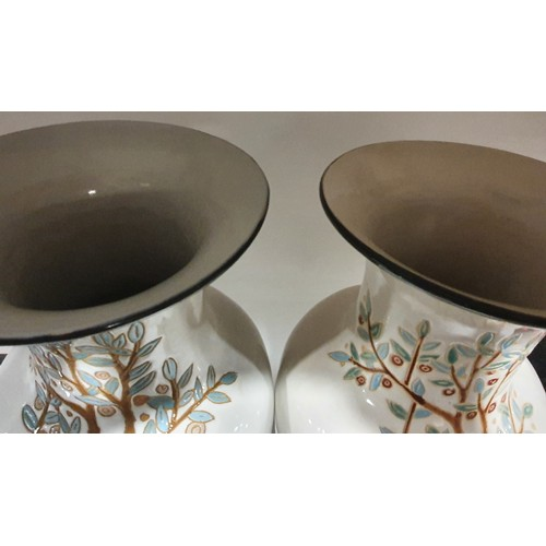 8 - A pair of large oriental vases with tree and peacock decoration. 50cm high. Statement interior desig...