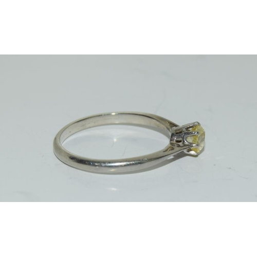 6 - A Natural yellow diamond 4mm & 18ct gold ring, size L1/2.