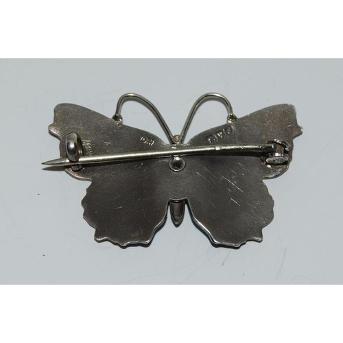 1 - Charles Horner Art Nouveau silver and enamel butterfly brooch . Chester 1909