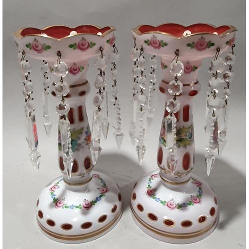 2 - Pair of Victorian glass light lustre's....