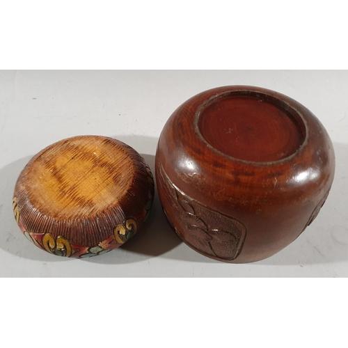4 - Two decorative Treen wooden pots....