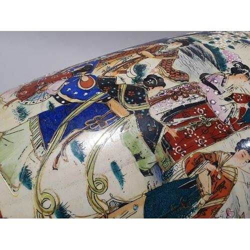 5 - A large oriental porcelain satsuma vase 60cm high....