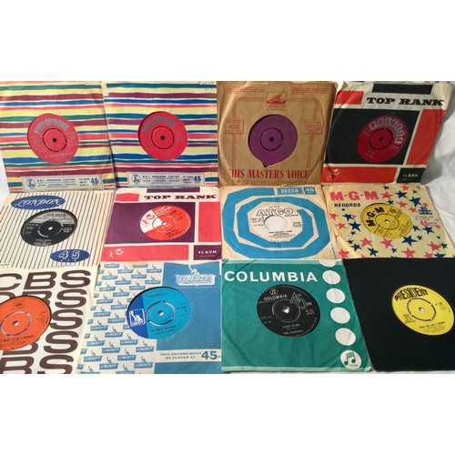 """39 - BOX OF VARIOUS E.P's & 7"""" VINYL RECORDS. Mainly a collection from the 50's and 60's to include artis..."""