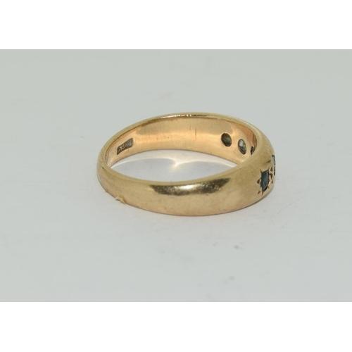 41 - 9ct gold antique set sapphire ring size L
