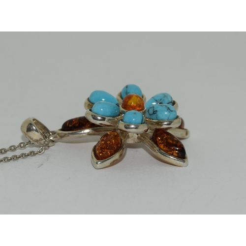 32 - Turquoise Baltic honey amber 925 silver daisy pendant.