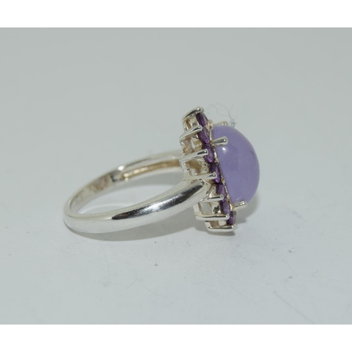 35 - Lavender Jade and Amethyst 925 silver cluster ring, Size O.