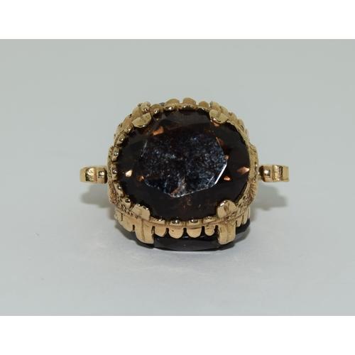 38 - 9ct gold watch fob smokey quartz.
