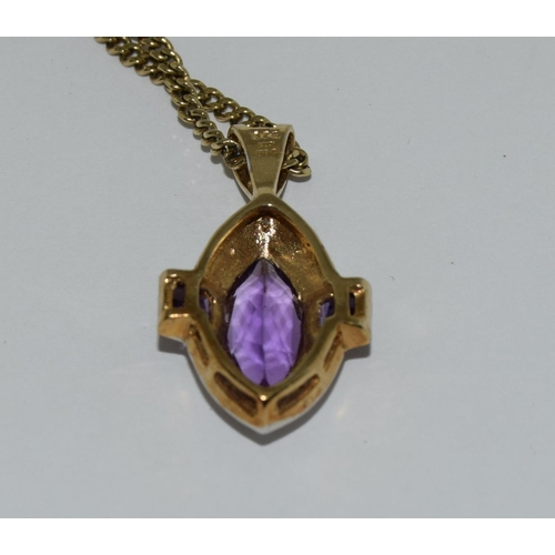18 - 9ct gold amethyst possibly diamond pendant necklace.