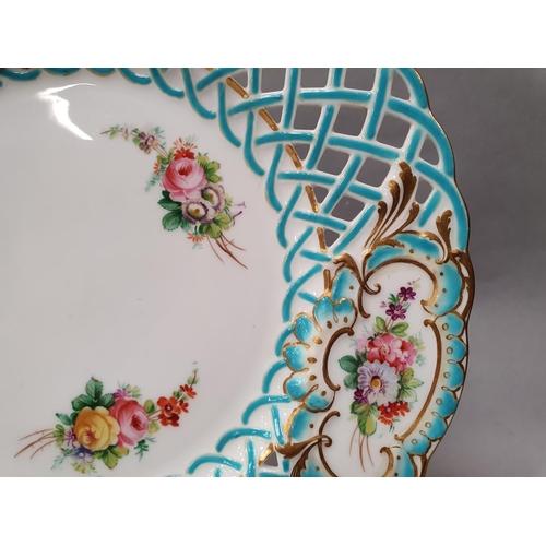 1 - An antique Minton pierced lattice work plate no 8800 c.1880 24cm diameter