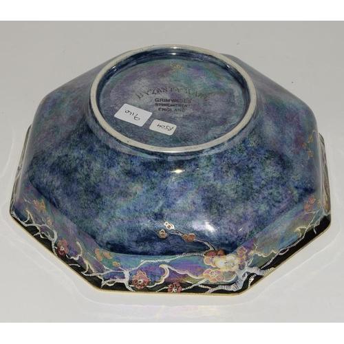 22 - Crown Devon Fieldings rouge royale pagoda pattern boat shaped vase 10.5