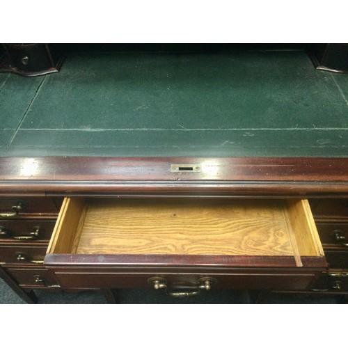 4 - Victorian mahogany roll top desk with key 119x106x69cm.