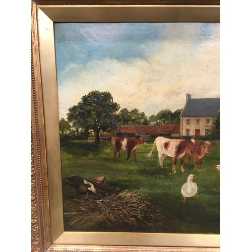 32 - Gilt frame oil on canvas farmyard country scene signed