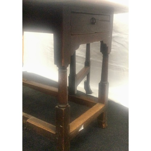 16 - For restoration 18th century elm drop leaf farmhouse table with drawers on splayed feet 70x115x150cm...