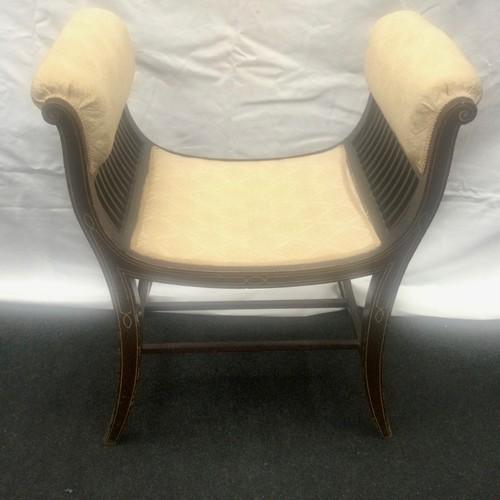 18 - Edwardian inlaid twin sided love seat  58x68x39cm.