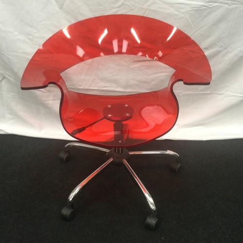 8 - Modern contemporary red bent plastic designer office gas lift swivel chair.