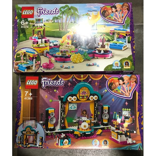 42 - Lego Friends Sets: 41374 Andrea's Poole Party and 41368 Andrea's Talent show (both retired). New and...