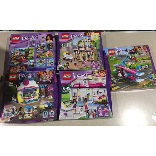 47 - 5 Lego Friends Sets: 41121 Adventure Camp Rafting, 41366 Olivia's Cupcake Cafe, 41311 Heartlake Pizz...