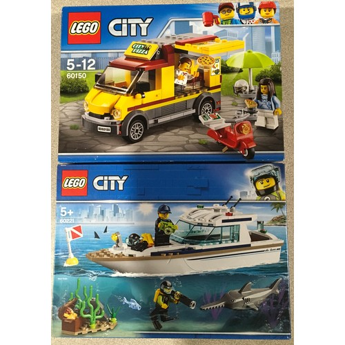 35 - 2 x Lego City sets: 60150 Pizza Van (retired) and 60221 Diving Yacht. New and sealed.