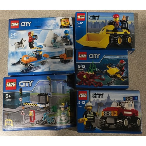 37 - 5 x Lego City sets: 60191, 40170, 7246, 7241, 60090. All new and sealed.