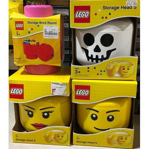 13 - 3x Lego Storage Head S and Storage Brick Head: New and sealed.