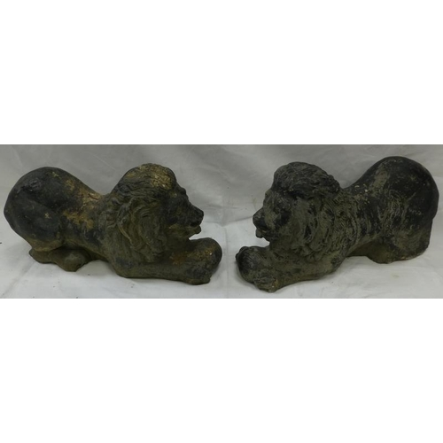 45 - Vintage garden statuary. Pair of large recumbent composite lions approx 21