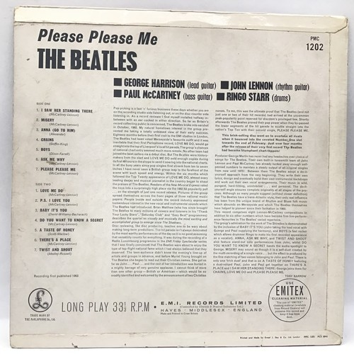 1096 - BEATLES - BLACK AND GOLD 'Please Please Me' LP vinyl record. Found on the Parlophone label PMC 1202 ...