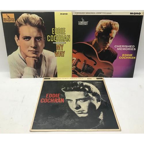 1097 - 3 EDDIE COCHRAN original vinyl LP records. Album titles as follows : My Way - Cherished Memories and...