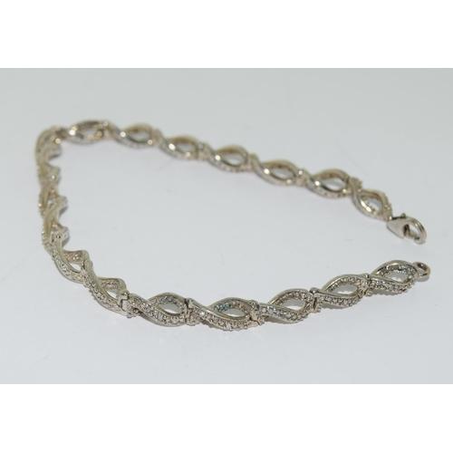 42 - Accent diamond 925 silver bracelet