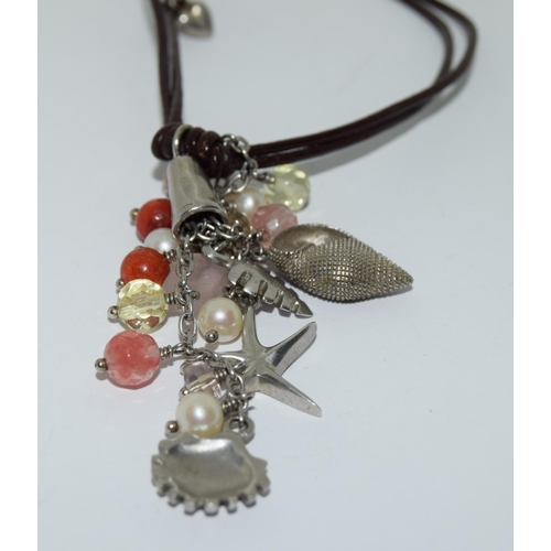 45 - Van Peterson 925 silver agate leather necklace