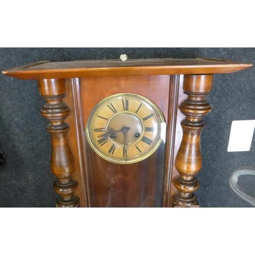 43 - Vintage Mahogany cased wall clock with pendulum