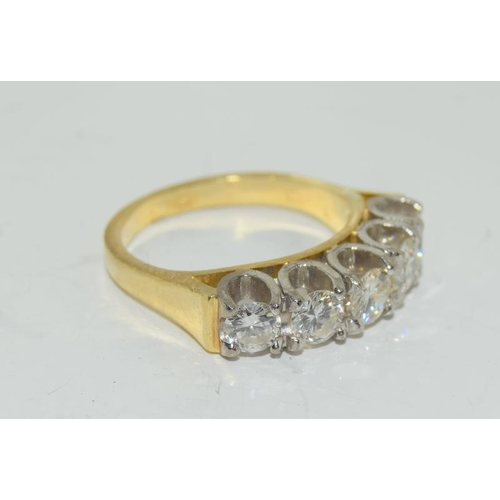 129 - 9ct gold ladies 5 stone diamond ring size L , centre stone measures 4mm approx 1.15ct total