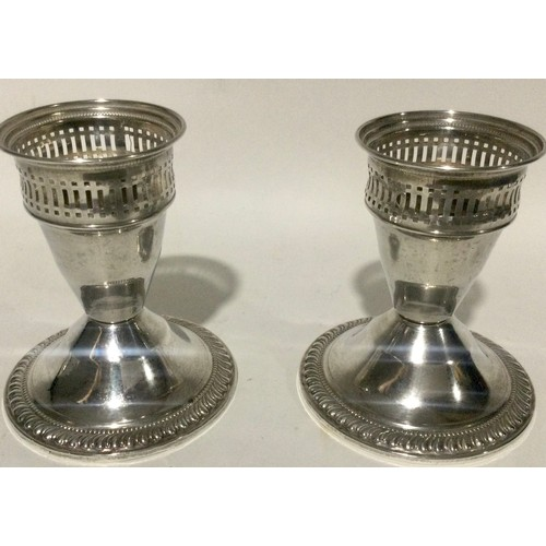 4 - Pair sterling silver dwarf candle sticks 8cm tall