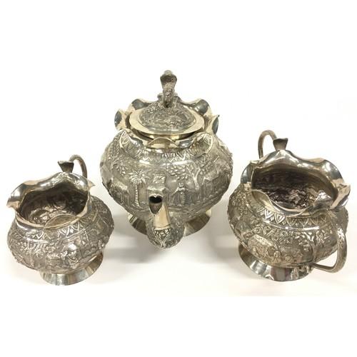 2 - Oriental silver embossed 3 piece tea set 885gm