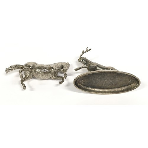 7 - Silver plate sculpture of a charging stag together a prancing horse